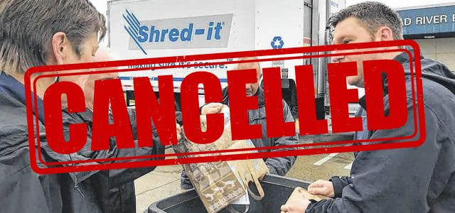April 4 Shred Day is Cancelled