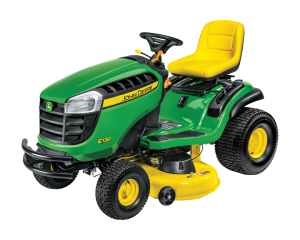 John Deere green and yellow riding lawn mower
